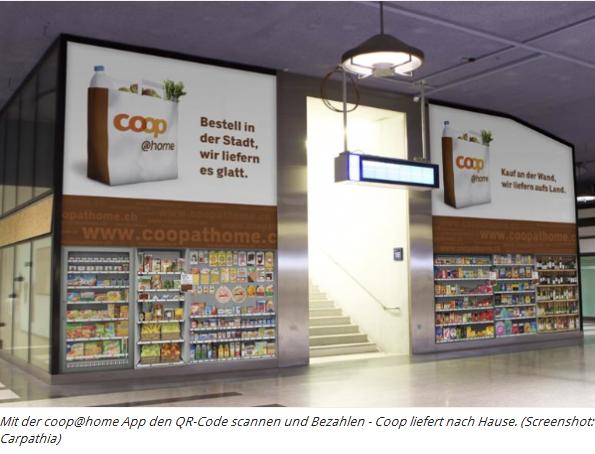 Mit der coo@home App den QR-Code scannen und Bezahlen - Coop liefert nach Hause (Screenshot:Carpathia)