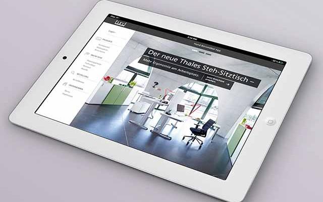 iPad mit Vertriebs-App für den Außendienst bei Hund Büromöbel