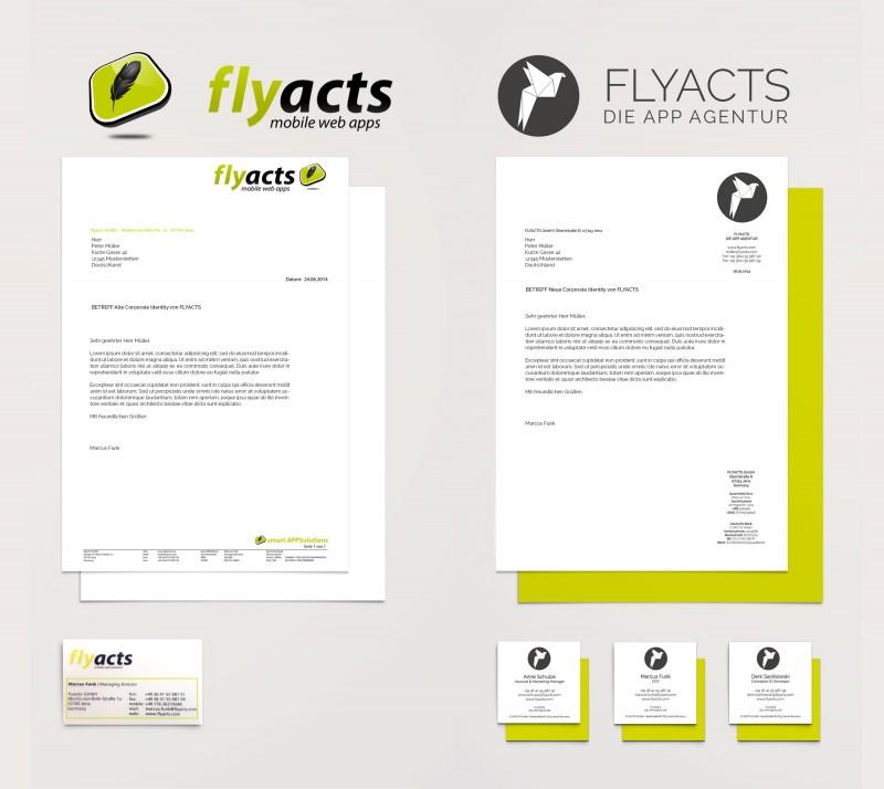 Vorher-Nachher-Vergleich des Corporate Designs von FLYACTS