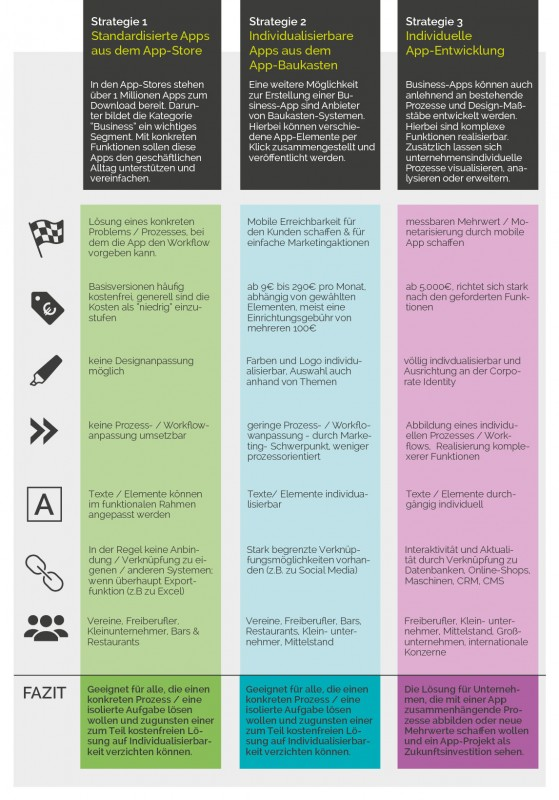 Infografik als Zusammenfassung der 3 unterschiedlichen Strategien für Business-Apps