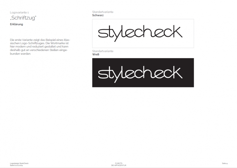 Dies ist die erste Designvariante für die StyleCheck GmbH