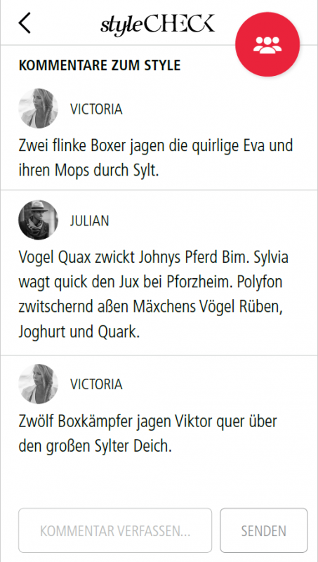 Kommentare in der StyleCheck-App