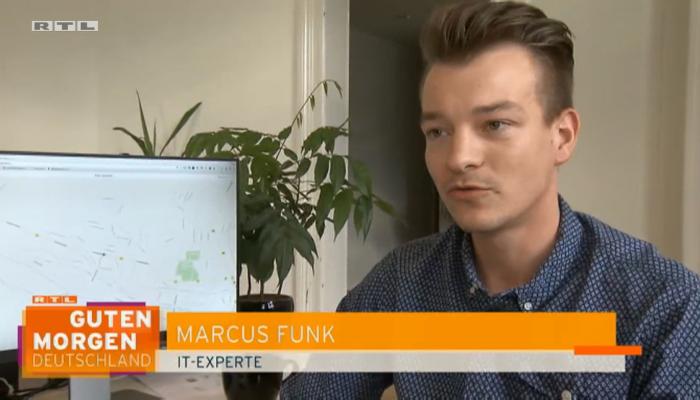 Ein Screenshot des Beitrags auf RTL mit Marcus Funk als IT-Experten
