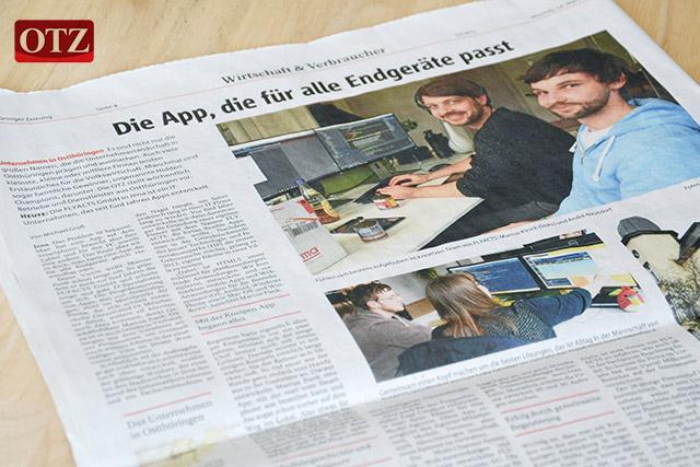Zeitungsausschnitt in der OTZ über die FLYACTS GmbH
