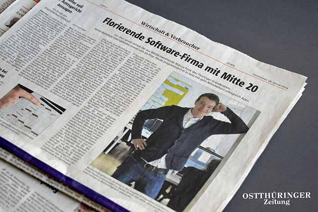 Zeitungsausschnitt aus der OTZ über die FLYACTS GmbH