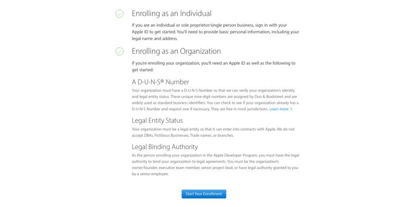 Apple Developer Start