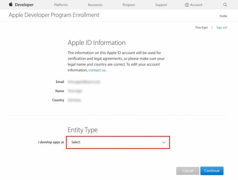 Apple Developer Account - I develop apps as