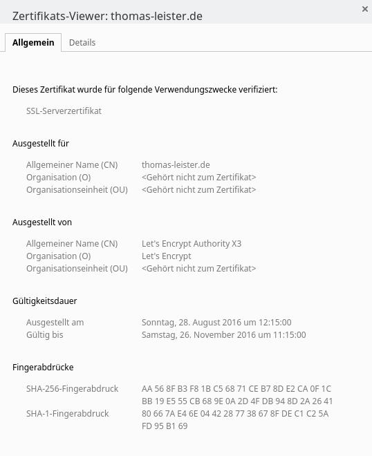 """Beispiel für ein """"freies"""" SSL-Zertifikat"""