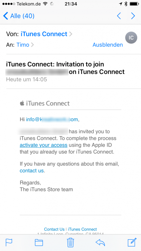 Screen Mail von iTunes Connect Testeinladung