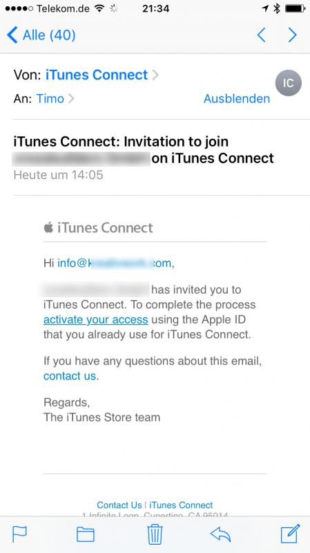 Screen Mail von iTunes Connect Testeinladung