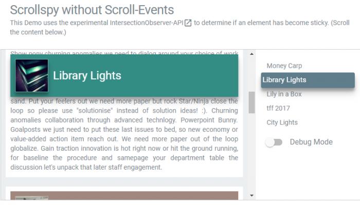 Scrollspy-Pattern ohne Scroll-Event
