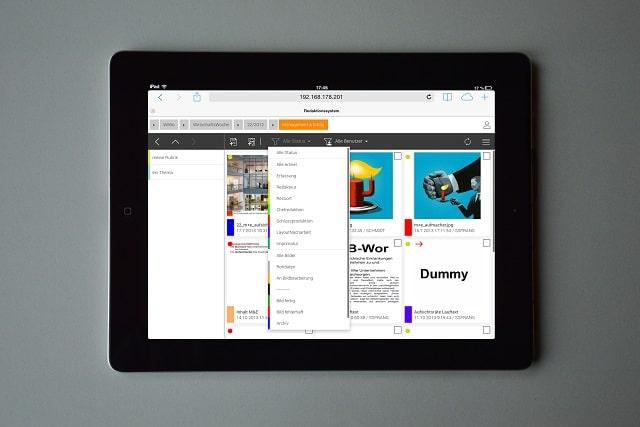 Tango Redaktionssystem auf dem Tablet
